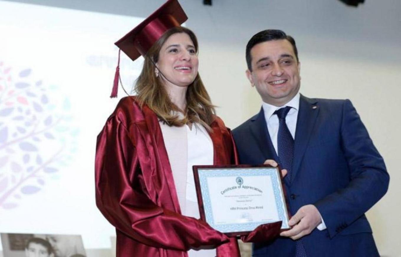 Princess Dina awarded honourary doctorate by Armenian university